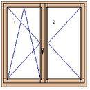 okno dvoukřídlé, bez sloupku, otevíravé a sklopné